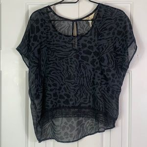 Black Poppy small blouse in black animal print